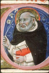 Initiaal met Dominicus - Missaal, ca. 1370, Italië - Avignon, BM, f. 259r