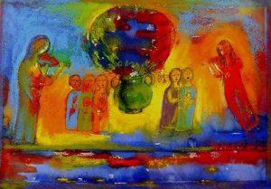 Kleurriijk schilderij - maker onbekend