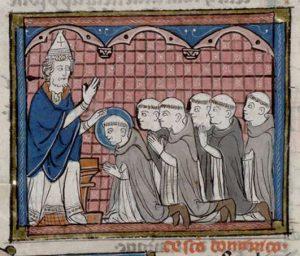 Paus Honorius III geeft de regel aan Dominicus en zegent hem en zijn metgezellen - Jacobus de Voragine, Legenda aurea - Huntington Library, San Marino, CA, hs. HM 3027, f. 91v - afbeelding Bancroft Library, University of California at Berkeley, CA