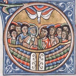 Miniatuur met Pinksteren - Sacramentarium, Touraine, circa 1170 - Tours, BM, 193, f. 56v