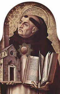 Portret van Thomas van Aquino, schildewrij door Carlo Crivelli , 15e eeuw, te Ascoli Piceno