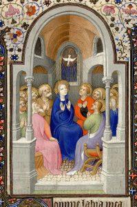 Initiaalvan Pinksteren - Getijdenboek, 1401-145 - Parijs, Biblioth`que Mazarine, ms 469, f. 117r