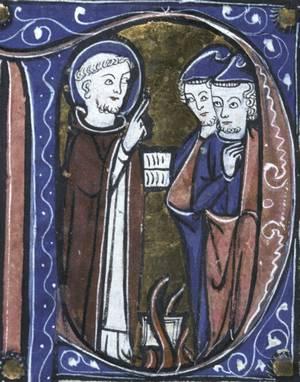 Dominicus en de bijbel in het vuur - Aristotelisch verzamelhandschrift, ca.1250-1275- Lyon BM, hs. 244, f. 24 v