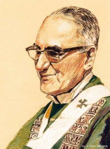 Schilderij van aartsbisschop Oscar romero door J. Puigreixach