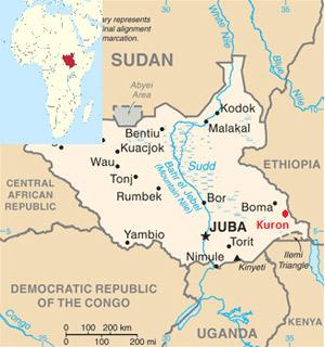 Kaart Zuid-Soedan - bron: Pax voor Vrede
