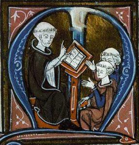 Initiaal met Thomas van Aquino al onderrichtend; 4e kwart 13e eeuw? - Angers, BM, ms. 208, f. 1
