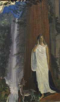 Shcilderij met in het wit geklede vrouw in bosrijke omgeving