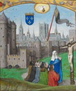 Miniatuur kruisiging met stadsgezicht van Parijs met de Notre Dame - Brugge, 3e kwart 15e eeuw - Londen, British Library, hs. Royal F II, f. 89r - Charles d'Orleans, gedichten
