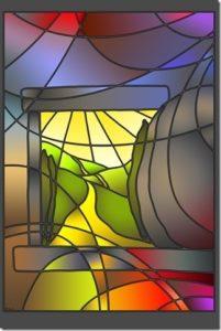 Tekening kleurig glas-in-loodraam