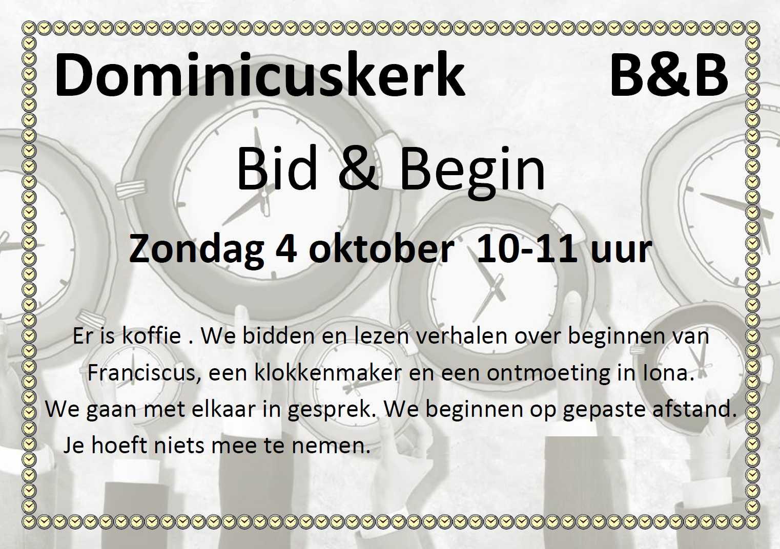Poster Bid & Begin, 4 oktober 2020